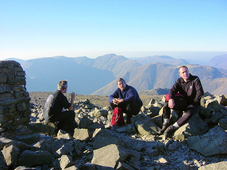 Celebrating on Scafell Pike