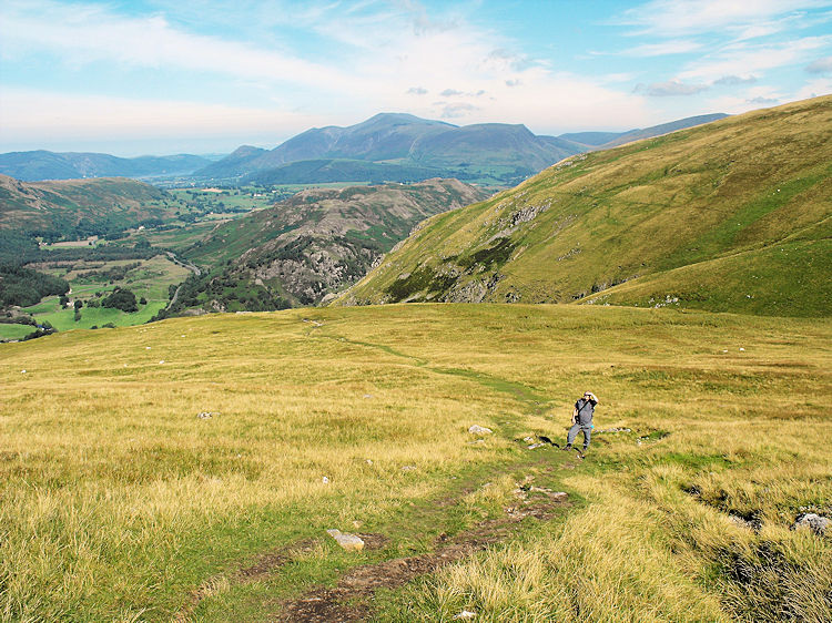 Climbing to Stick's Pass with Skiddaw in the background