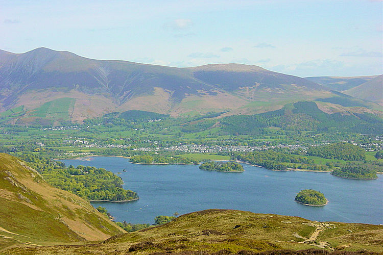 Derwent Water and Keswick seen from Maiden Moor