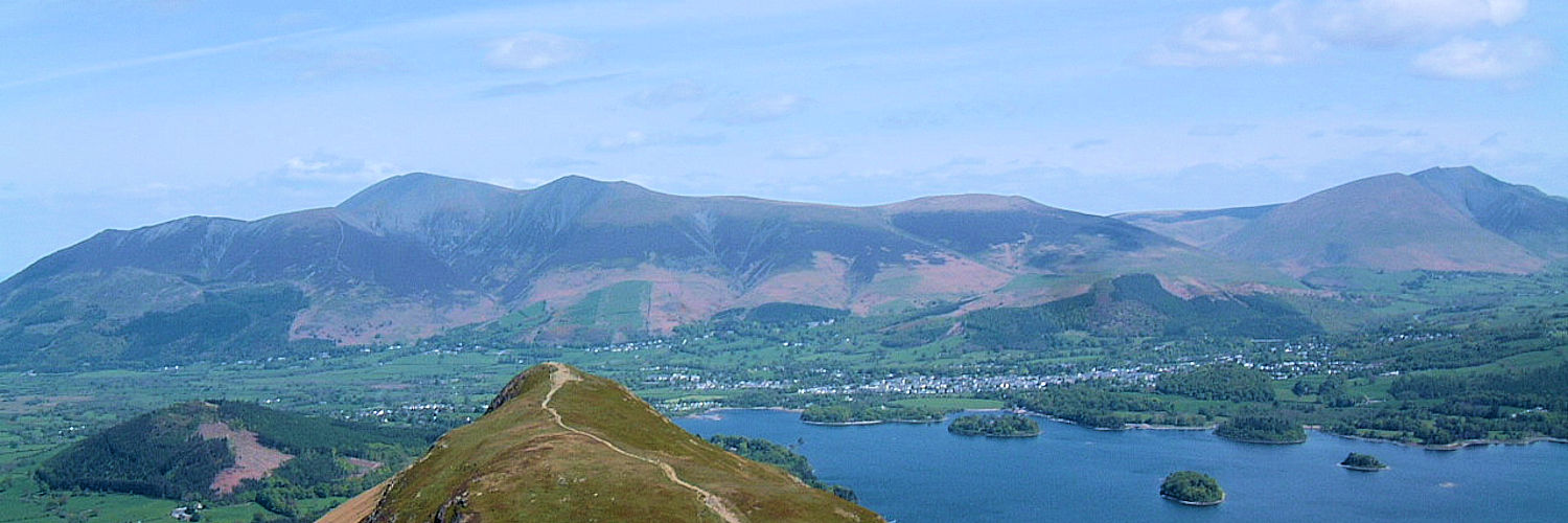 Majestic view to Derwent Water, Keswick, Skiddaw and Blencathra from Cat Bells