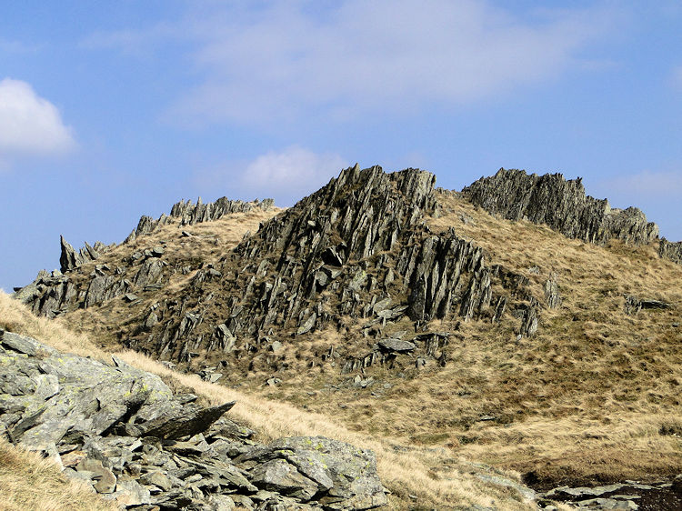 Sharp rock formations on the Nan Bield Pass