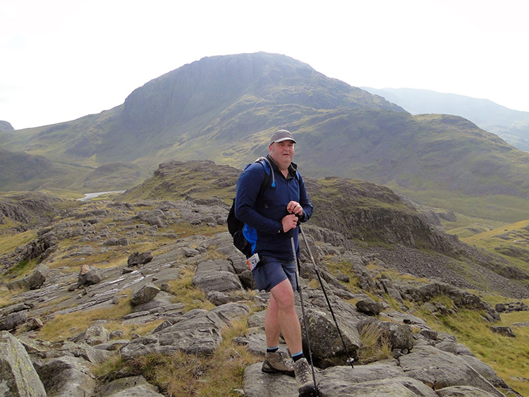 Tim enjoys the view from Seathwaite Fell