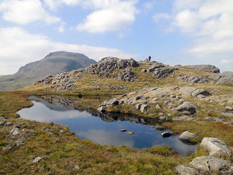 The summit and tarn of Great Slack on Seathwaite Fell