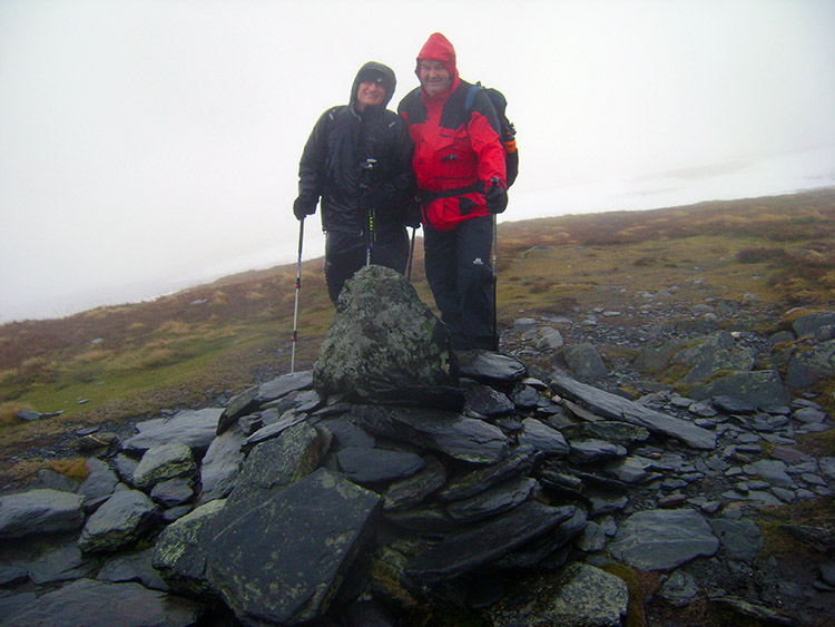 Bedraggled Brockhurst and Nobes on the summit of Bowscale Fell