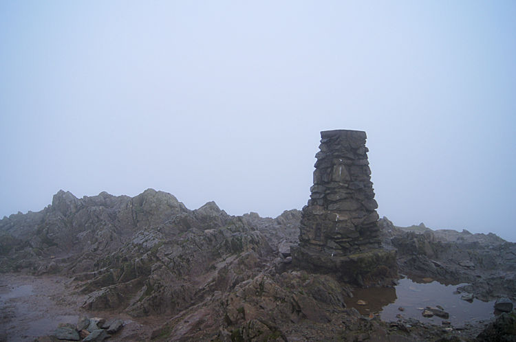 The summit of Loughrigg Fell on a day without views