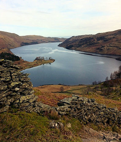 Looking across Haweswater from Riggindale Crag