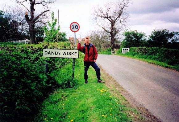 Dave hails our arrival in Danby Wiske