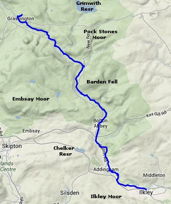 Map of the Dales Way walk - Ilkley to Grassington