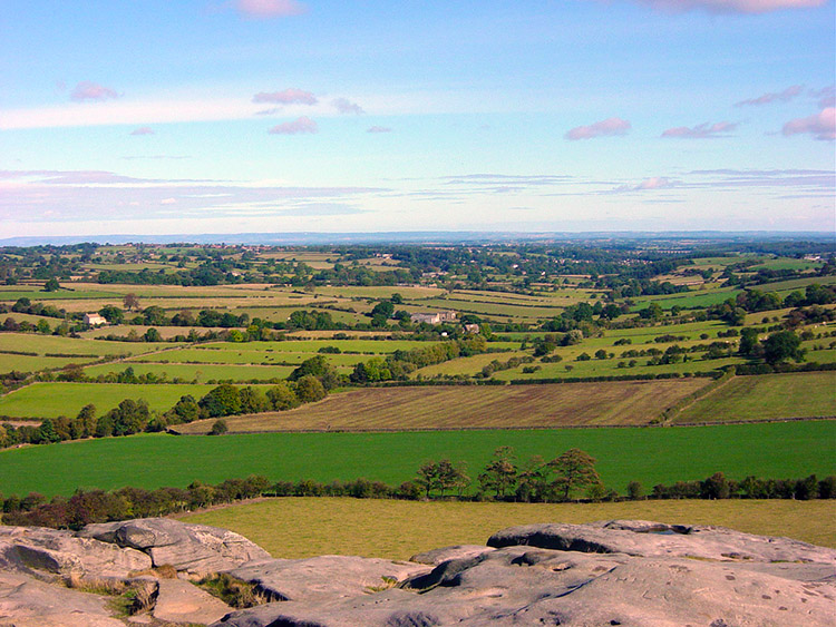 The view towards Leeds from Almscliff Crag