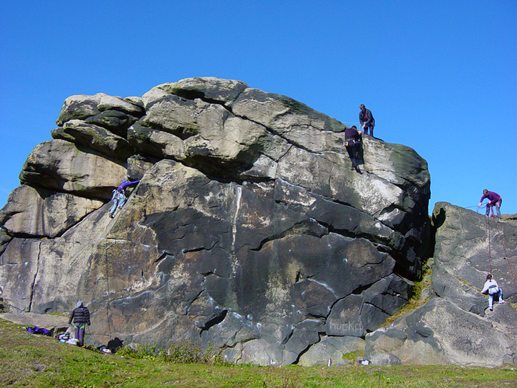 Rock climbing on Almscliff Crag