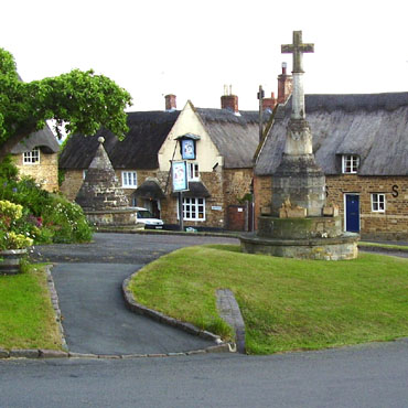 Hallaton village green and Bewicke Arms