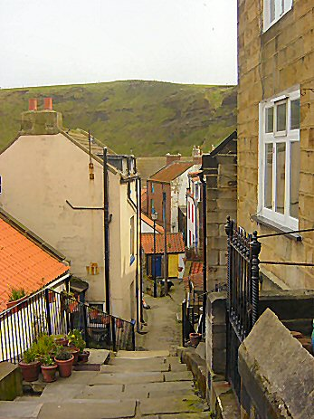 Staithes has many steep and narrow alleyways