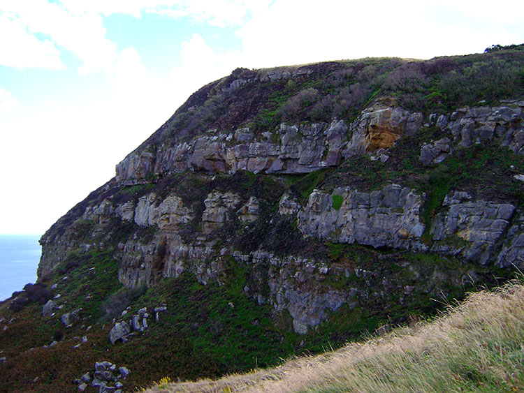 Rock on the south side of the Ravenscar Peak Fault