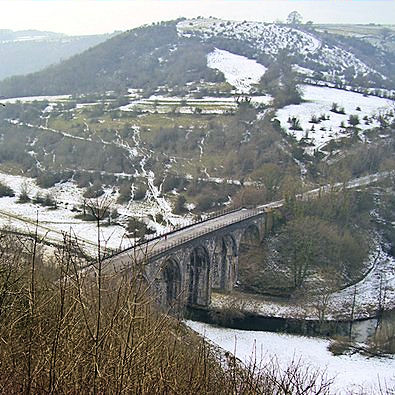 Monsal Head viaduct crosses the River Wye