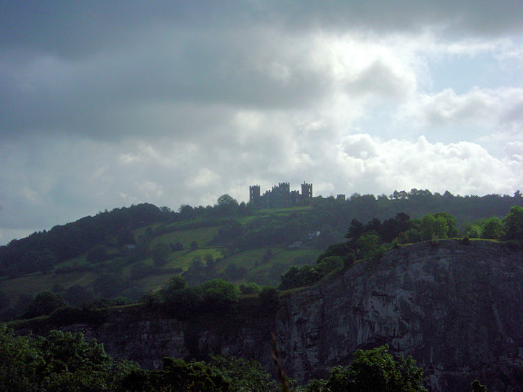 Riber Castle of the limestone cliff of High Tor