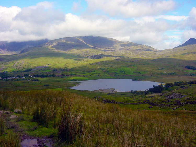 Llyn y Gader with Snowdon's foothills beyond