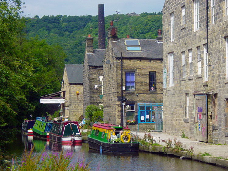 Colourful canal life in Hebden Bridge