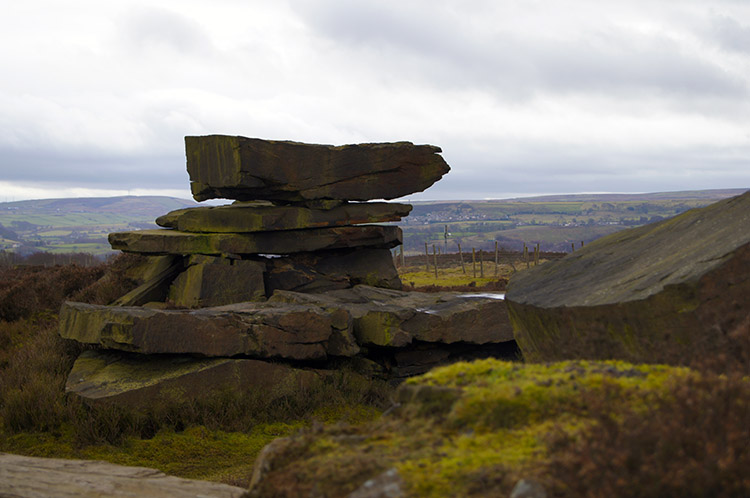 Manmade rock formation on Harden Moor