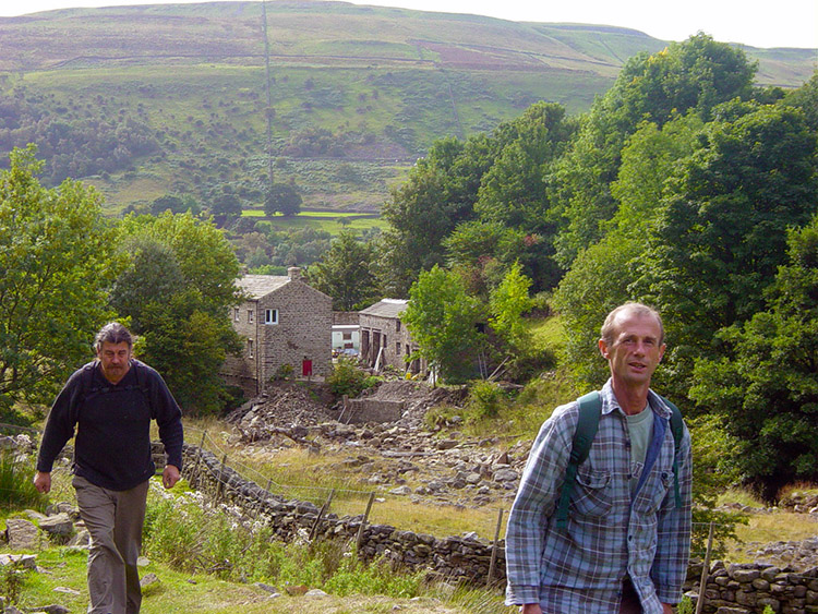 Dave and Deke stride out from Gunnerside
