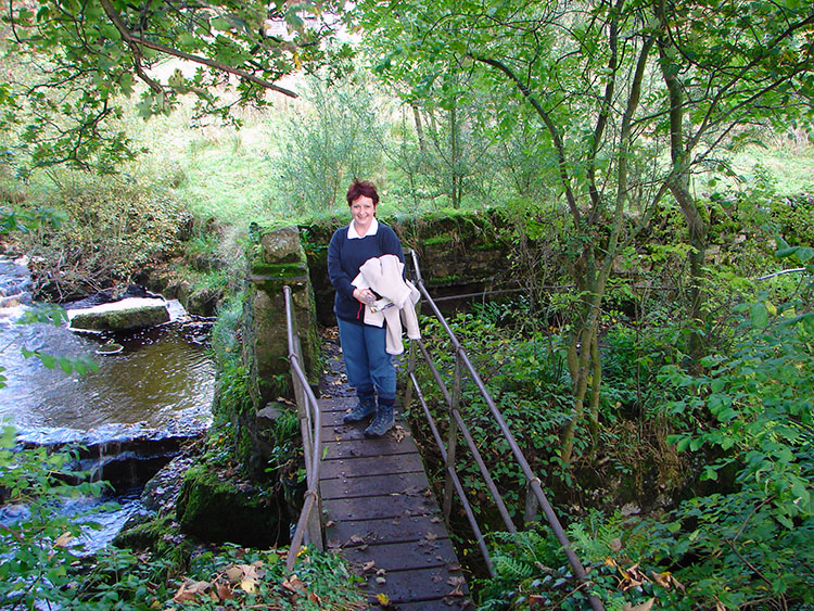 Crossing the wooden footbridge at Mill Dam
