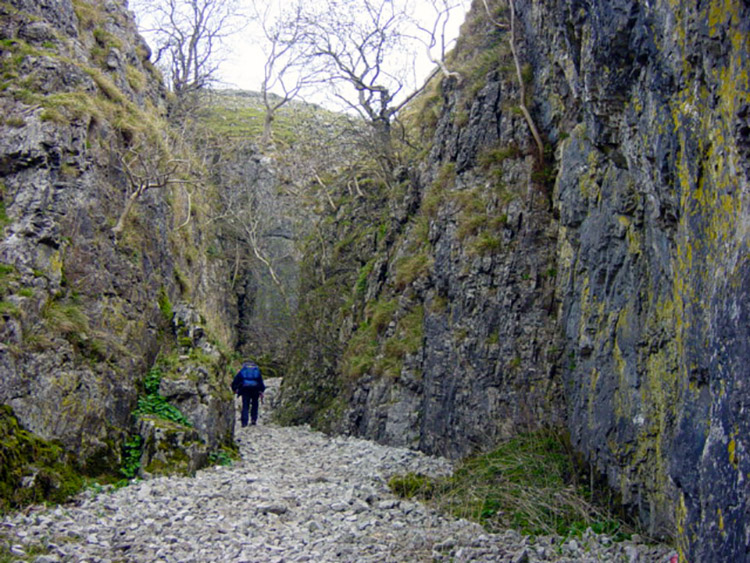A walker enters the enclosed confines of the gorge