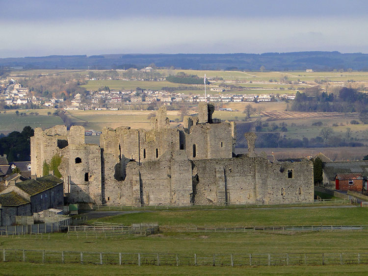 Middleham Castle is now sited lower than the original