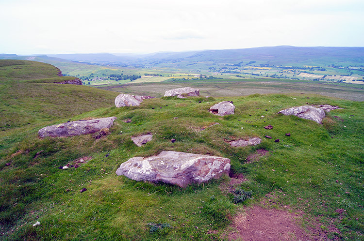 Cup and ring circle on the summit of Addleborough