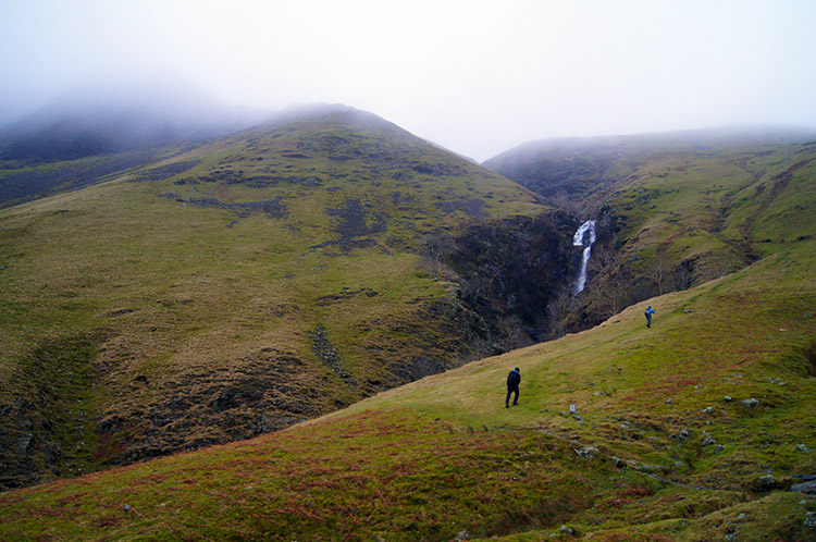 Beginning the steep climb at Cautley Spout Tongue