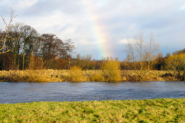 Rainbow falling into the River Ure