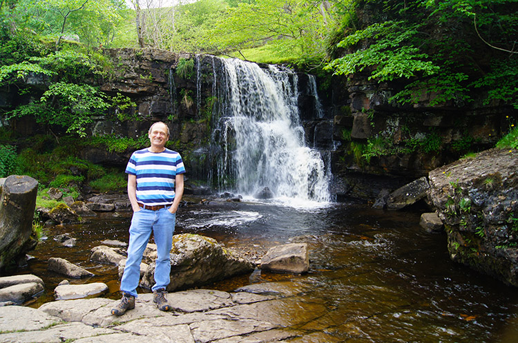 The Walking Englishman at East Gill Waterfall