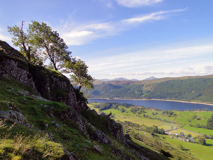 The view to Thirlmere with Lakelands highest fells coming into view
