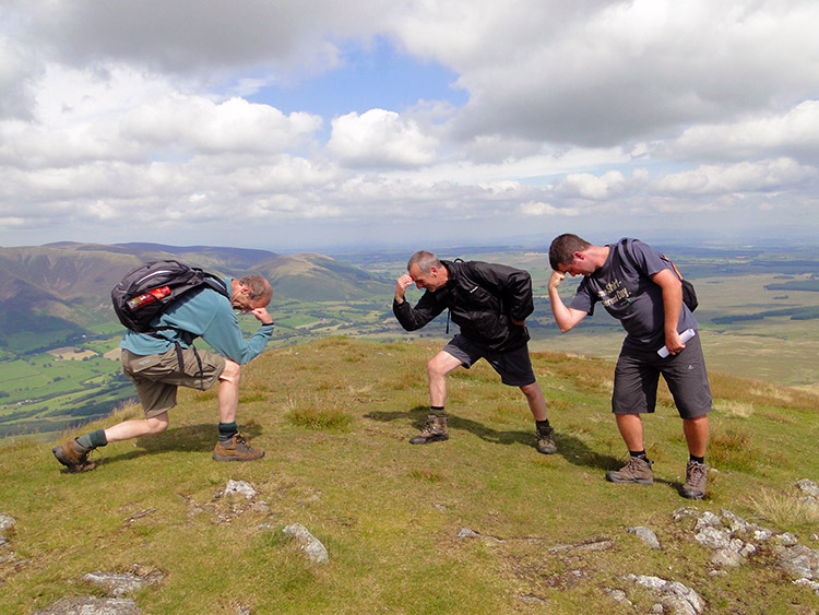 Striking a pose on the summit of Clough Head