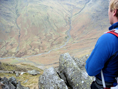 Looking down into Rossett Gill from Pike of Stickle