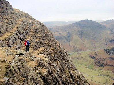 Neal looks out from just below Pike of Stickle