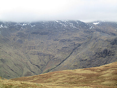 Rossett Gill with brooding Bowfell looming above