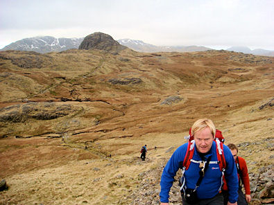 Climbing to Harrison Stickle with Pike of Stickle behind