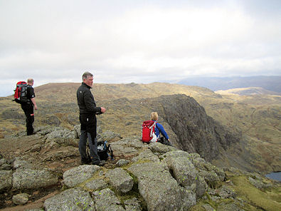 Looking down on Pavey Ark from Harrison Stickle