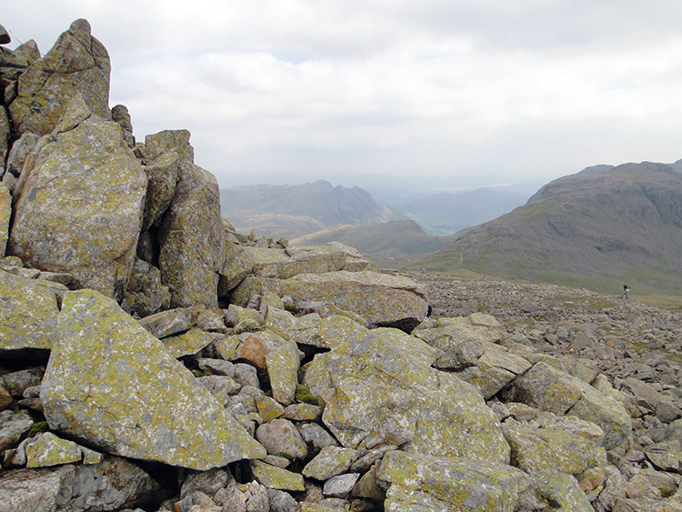Rocky terrain and the view to Wasdale on Great End