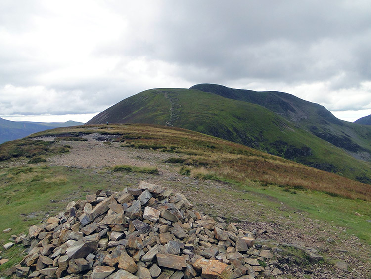 The summit of Scar Crags with Sail and Crag Hill beyond