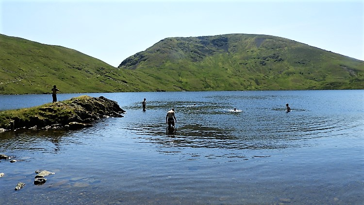 Cooling down in Grisedale Tarn