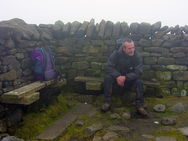 A sombre Steve at the summit of Great Shunner Fell