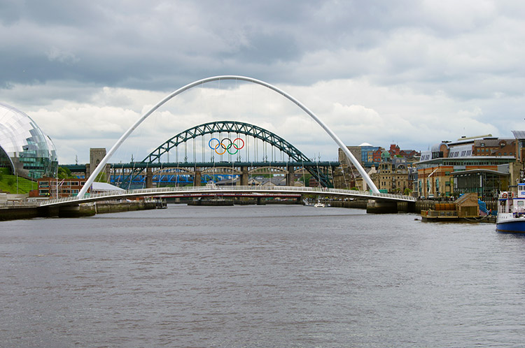 Tyne Bridge framed by Millennium Bridge