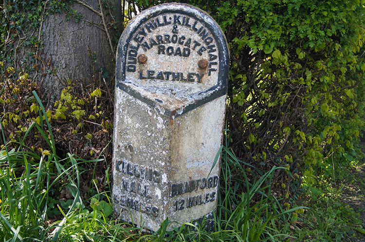 Milepost in Leathley