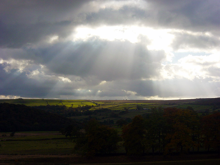Glint of sunshine over Farnley Moor