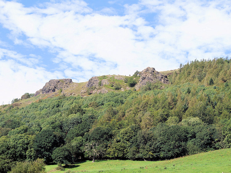 Lava outcrops on the Wrekin