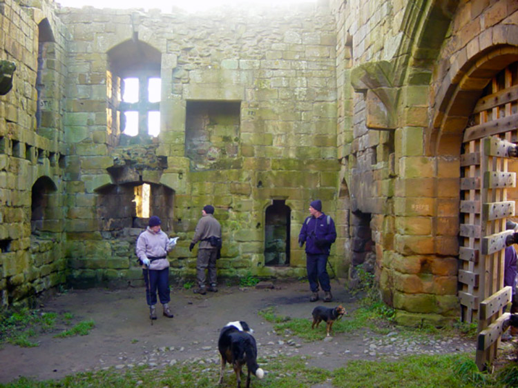 Inspecting the gate house of Whorlton Castle
