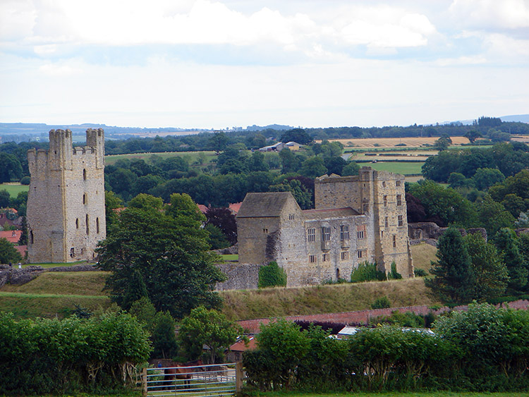 Helmsley Castle as seen from the Cleveland Way