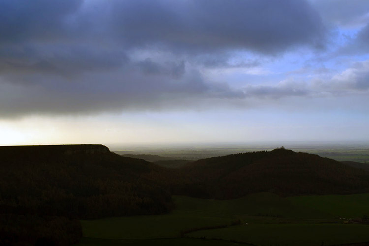 Brooding skies over Hood Hill and Roulston Scar