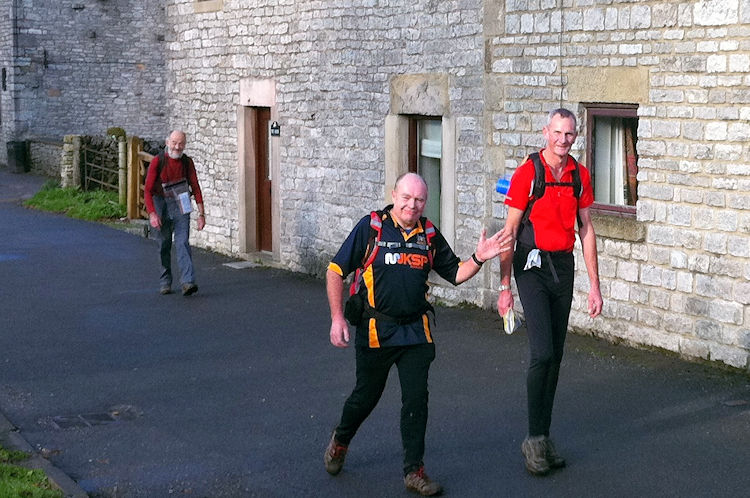 In Monyash with walkers including Dave the racing snake