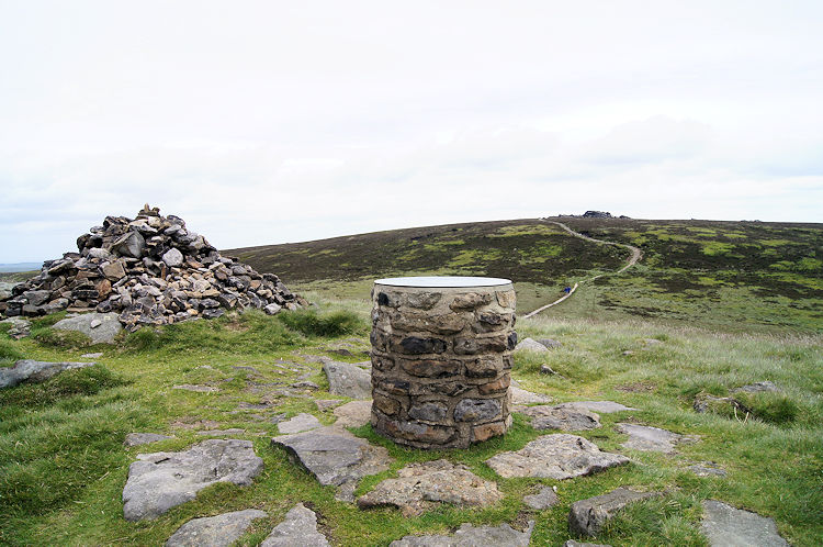 Cairn and information pillar on Lost Lad